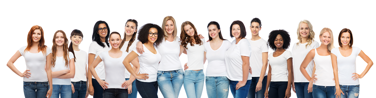 Group of women in white shirts and jeans